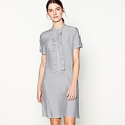 Six Ames - Grey striped 'Lise' high neck short sleeve mini shift dress
