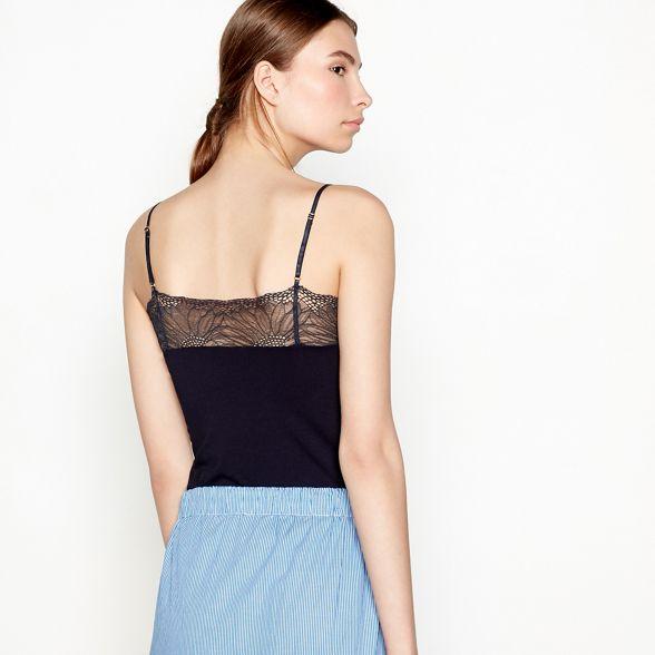 Six V lace 'Pallya' floral top neck Ames vest Black zqwXtnr4z