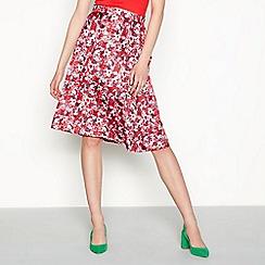 Six Ames - Red floral print satin 'Lina' knee length a-line skirt