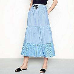 Six Ames - Blue stripe 'Gigi' full length tiered skirt