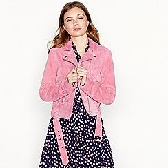 mbyM - Pink suede 'Nana' biker jacket