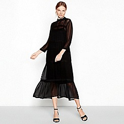 mbyM - Black tiered chiffon high neck long sleeve midi dress