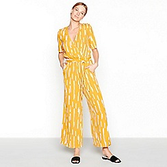 mbyM - Yellow abstract stripe print V-neck short sleeve full length jumpsuit