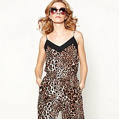 Lolly's Laundry - Brown leopard print sleeveless V-neck camisole