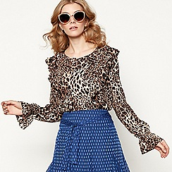Lolly's Laundry - Brown leopard print long balloon sleeve ruffle blouse
