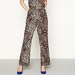 Lolly's Laundry - Brown leopard print chiffon wide leg casual trousers