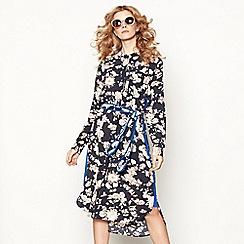 Lolly's Laundry - Multi-coloured floral print chiffon high neck long sleeve midi shirt dress