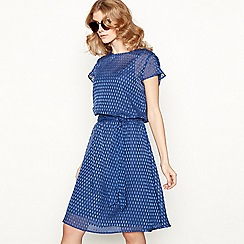 Lolly's Laundry - Blue waterdrop pattern satin high neck cap sleeve knee length tea dress