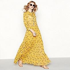 Lolly's Laundry - Yellow leaf print chiffon high neck full length shirt dress