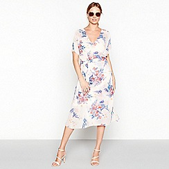 Minimum - Rose pink floral print chiffon V-neck short sleeve midi wrap dress