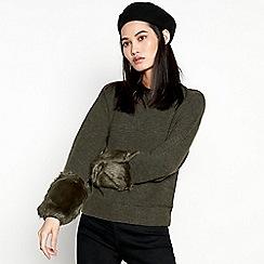 Minimum - Green Faux Fur Cuff Jumper with Wool