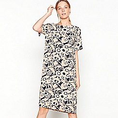 Stella Nova - Peach floral print round neck short sleeve knee length tunic dress