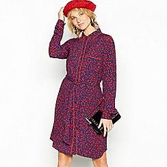 mbyM - Red floral print 'Crochetta' mini shirt dress