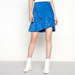 mbyM - Blue Asymmetrical Suede 'Amani' Mini Skirt