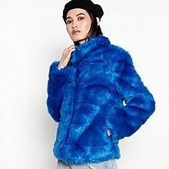 mbyM - Blue Faux Fur 'Azima' Cropped Jacket
