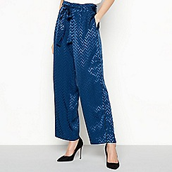 798c45716 Lolly's Laundry - Navy 'Aila' Geometric Pattern Flared Trousers