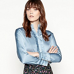 fabf9f690 Lolly's Laundry - Blue frilled silky 'Franka' blouse