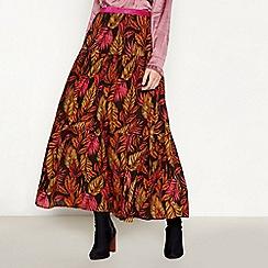 Lolly's Laundry - Multicoloured Leaf Print Glitter Waistband 'Bonny' Midi Skirt
