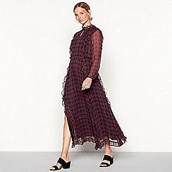 Stella Nova - Rose pink check print chiffon long sleeve maxi dress