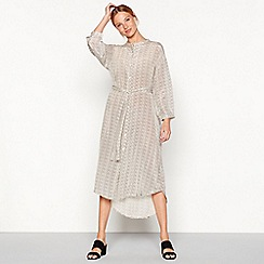 Stella Nova - White micro spot print button through long sleeve midi dress