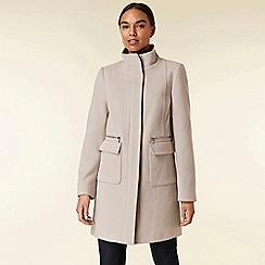 Wallis - Stone funnel neck coat