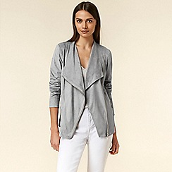Wallis - Grey Suedette Zip Waterfall Jacket