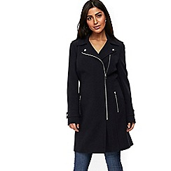 Wallis - Navy double crepe biker coat