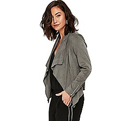Wallis - Grey suedette waterfall jacket