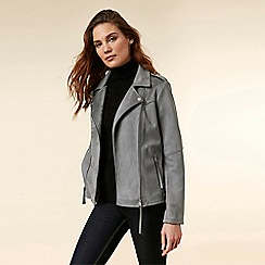 Wallis - Grey Suedette Biker Jacket