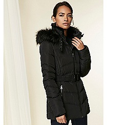 Wallis - Black padded belted coat