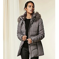 Wallis - Grey padded belted coat