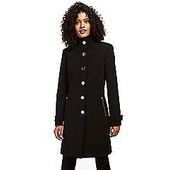 Wallis - Black zip pocket double crepe coat