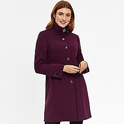 Wallis - Berry zip pocket double crepe coat
