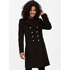 Wallis - Black faux wool military