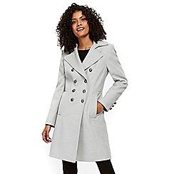 Wallis - Grey faux wool military coat