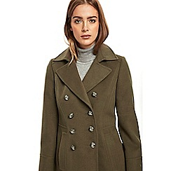 Wallis - Khaki faux wool military coat
