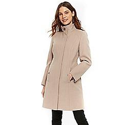Wallis - Mink faux wool zip through funnel coat