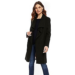 Wallis - Black cosy wool waterfall coat