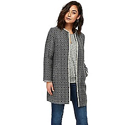 Wallis - Navy textured jacquard coat