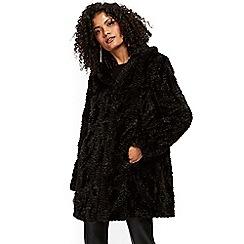 Wallis - Black faux fur shawl coat