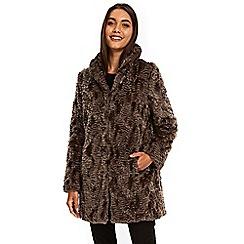 Wallis - Taupe faux fur coat