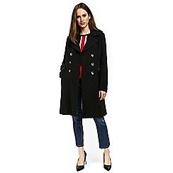 Wallis - Black double crepe military coat