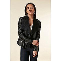 Wallis - Black Faux Leather Waterfall Jacket