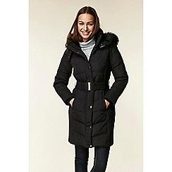Wallis - Black belted buckle parka coat