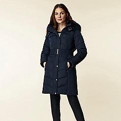 Wallis - Navy padded belted midi coat