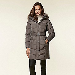 Wallis - Mink belted buckle detailed coat