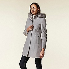 Wallis - Grey duffle faux fur wool coat