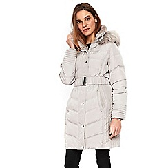 Wallis - Light grey padded belted buckle neck coat