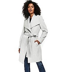 Wallis - Grey drawn wrap belted jacket