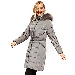 Wallis - Grey midi belted padded coat